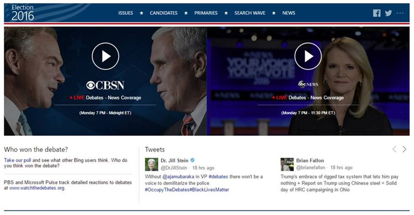 Go To Bing To Livestream The Vice Presidential Debate