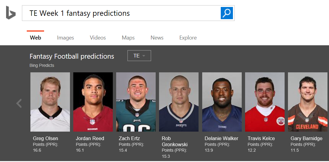 Get your first down with Bing's football and fantasy predictions