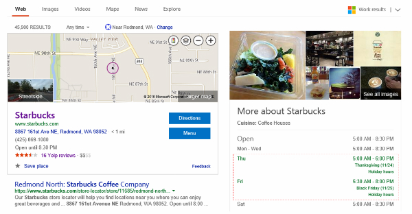 Bing Search Result Showing Starbucks Map with Holiday Hours in Red