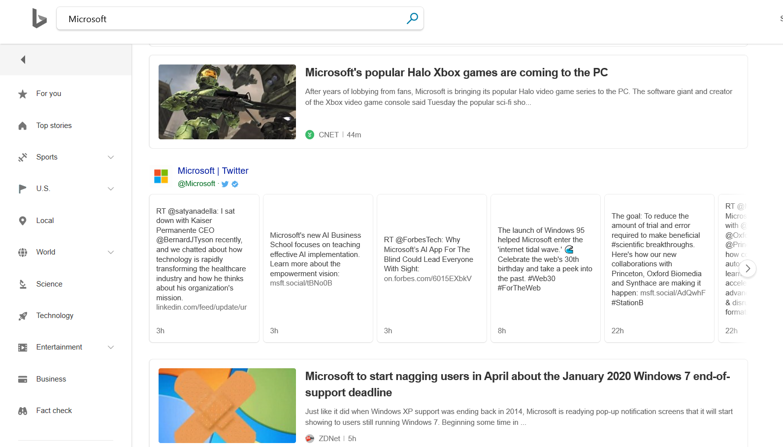 Bing News Search Example