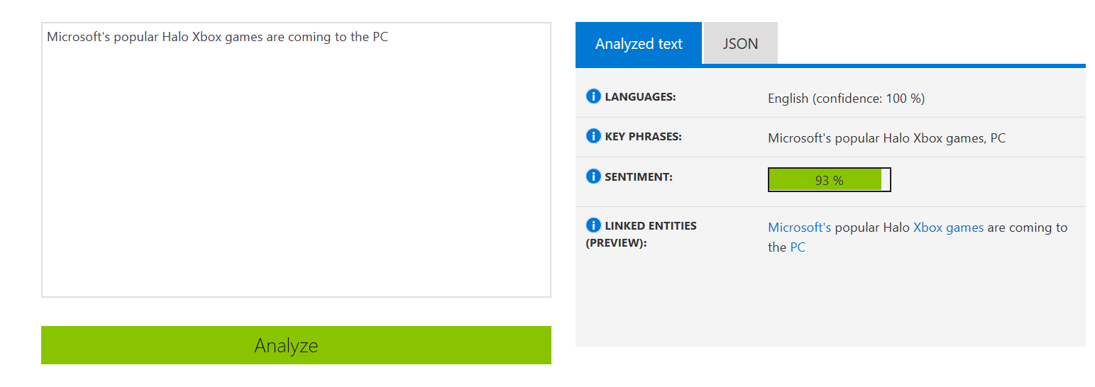 Text Analytics Example - Positive Sentiment