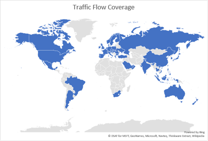 all of the interactive bing maps controls provide an option to overlay real time traffic flow data on top of the map the bing maps version 8 web control
