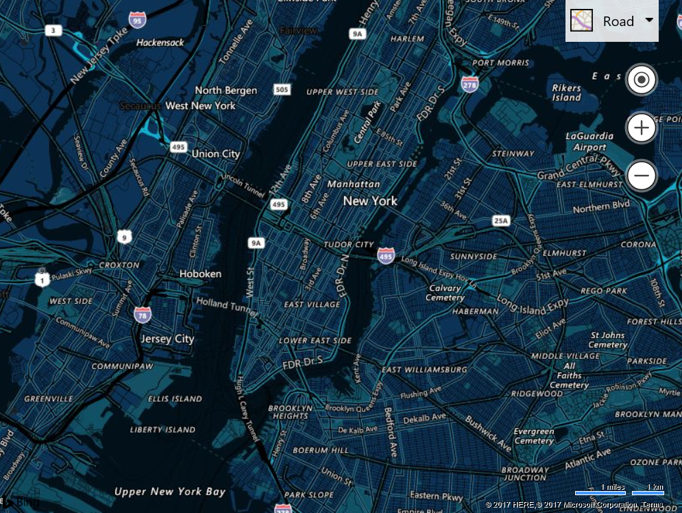 the bing maps v8 web control but you can also use custom maps styles with the bing maps rest imagery service static map images and with the windows