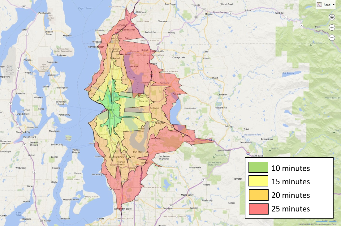 Bing Maps Isochrone API