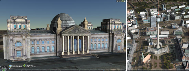 Cesium with Bing Maps and textured 3D buildings in Berlin using 3D Tiles