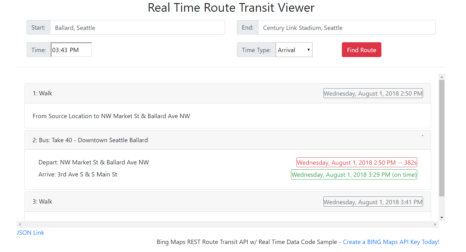 Reatime Route Transit Viewer