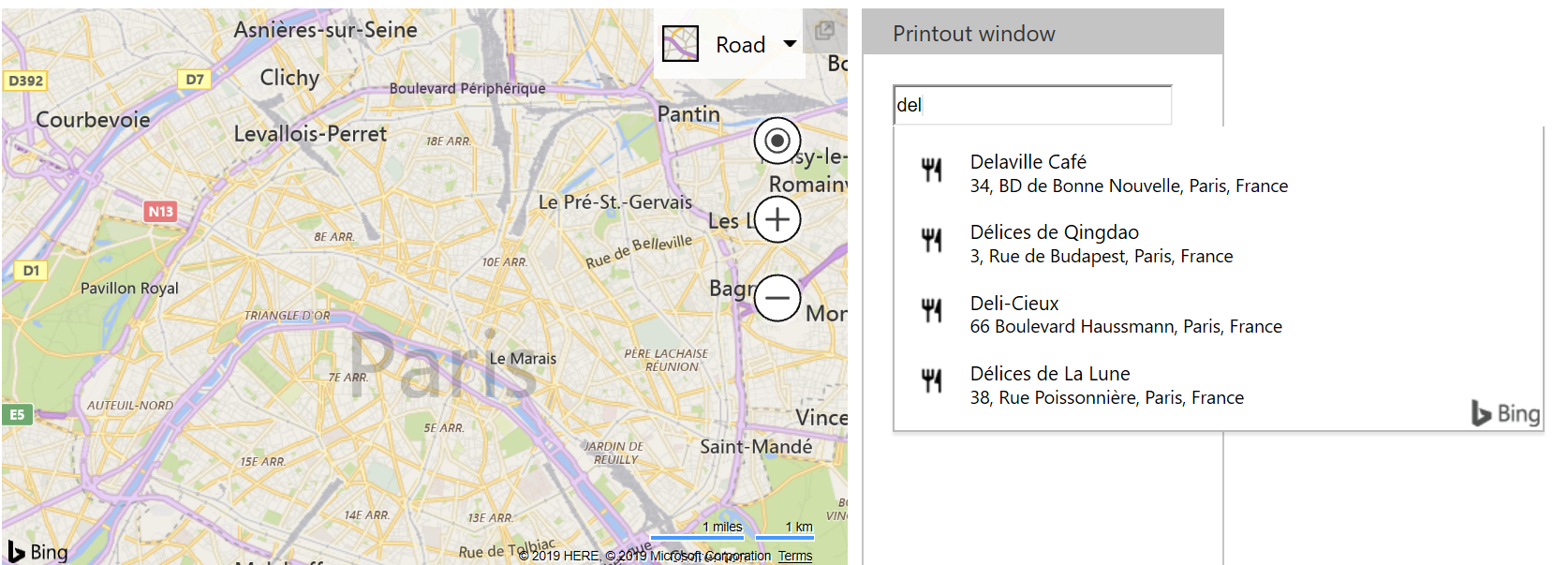 Bing Maps Autosuggest - France