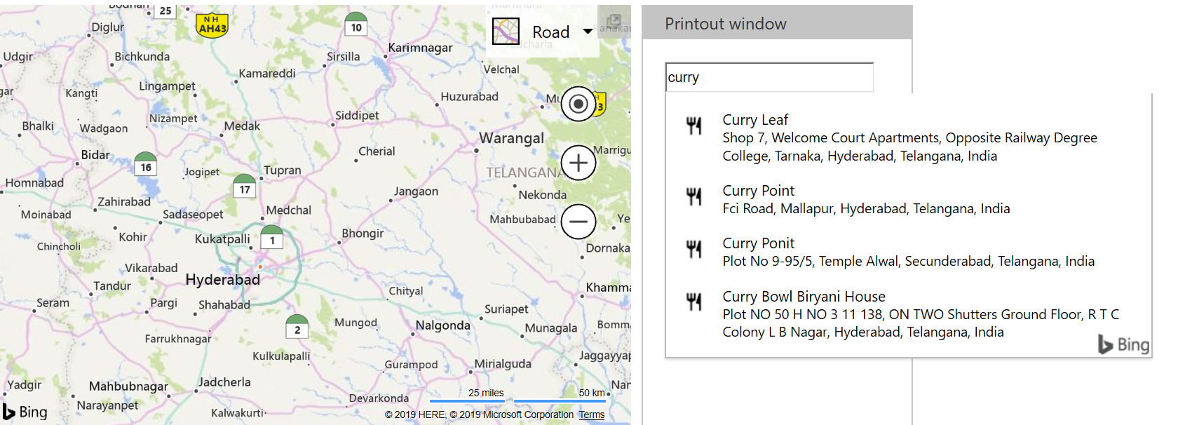 Bing Maps Autosuggest - India