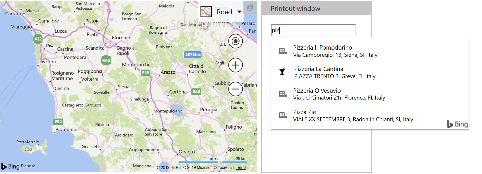 Bing Maps Autosuggest - Italy