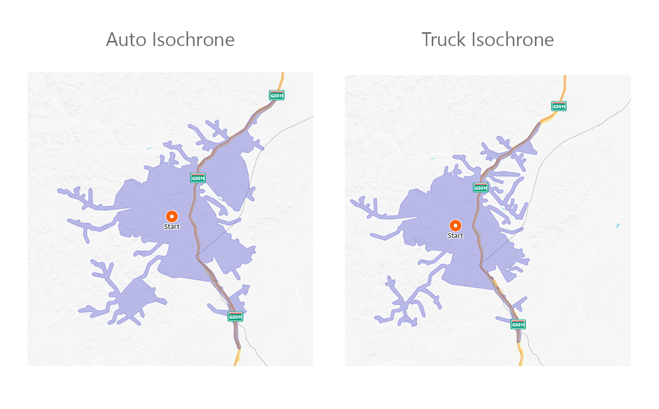 Auto Isochrone vs Truck Isochrone Screenshot