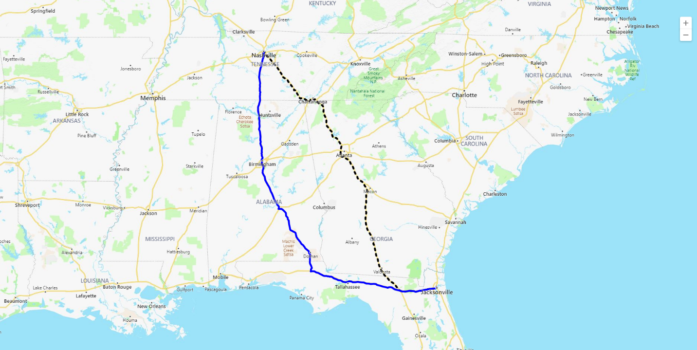 Route with border restriction screenshot
