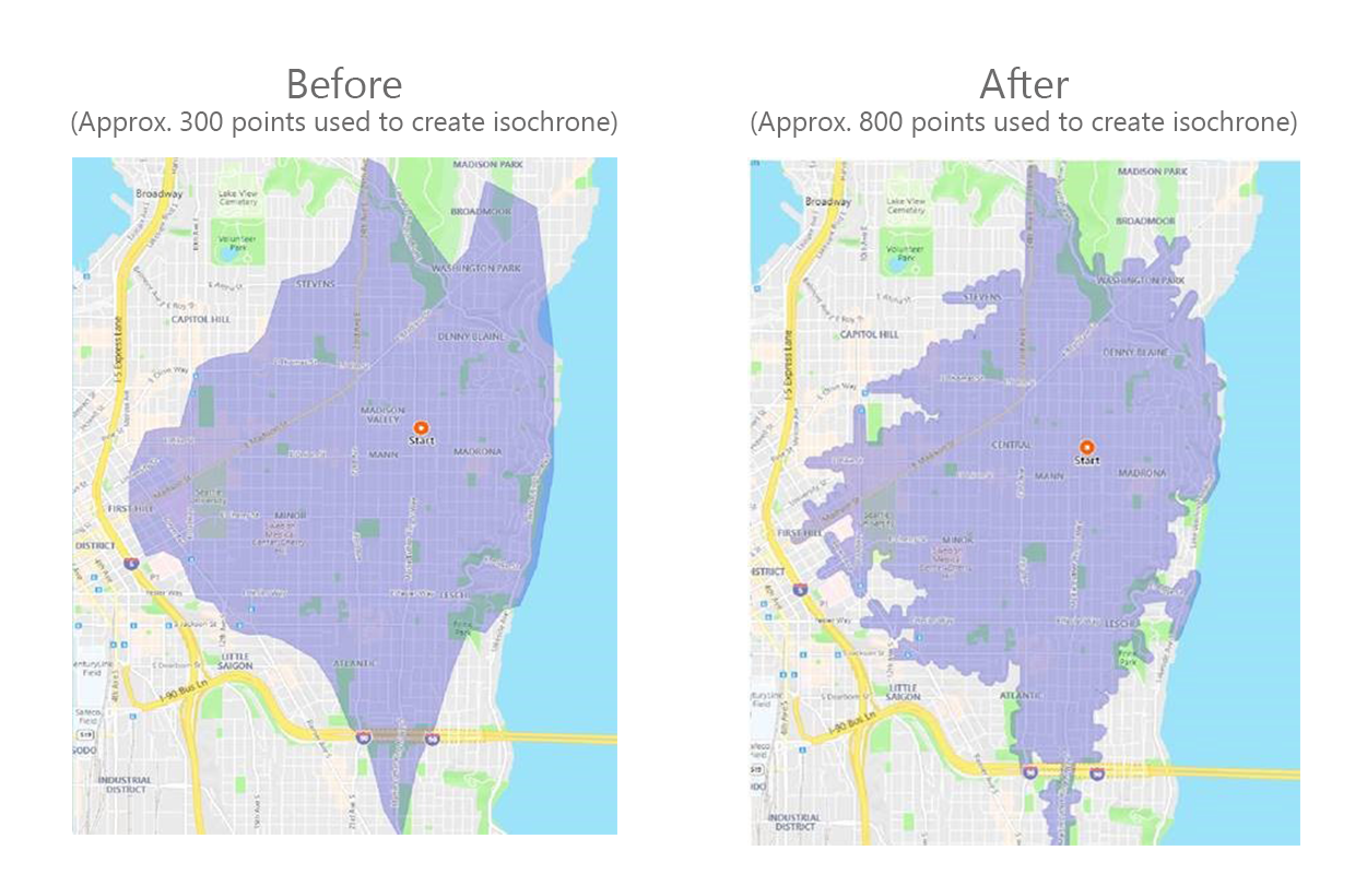 Isochrone API - Increased Points Screenshots Before and After