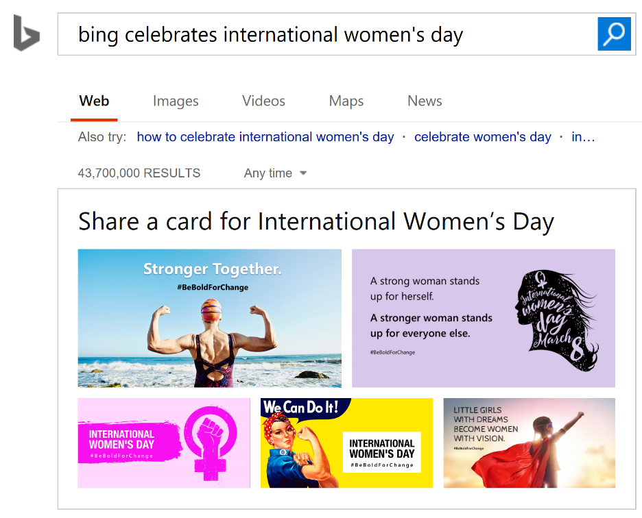 Bing Celebrates International Women's Day - Search results