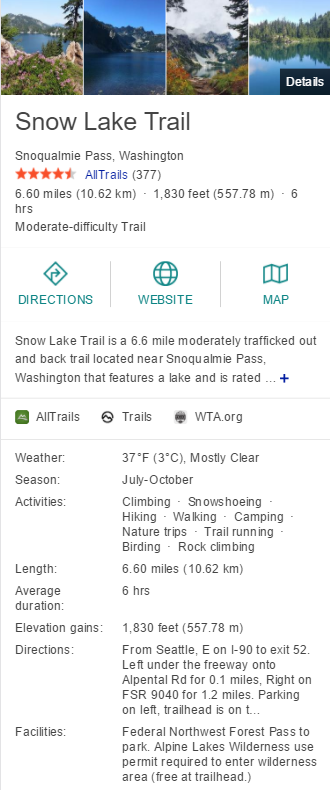 Snow Lake Trail
