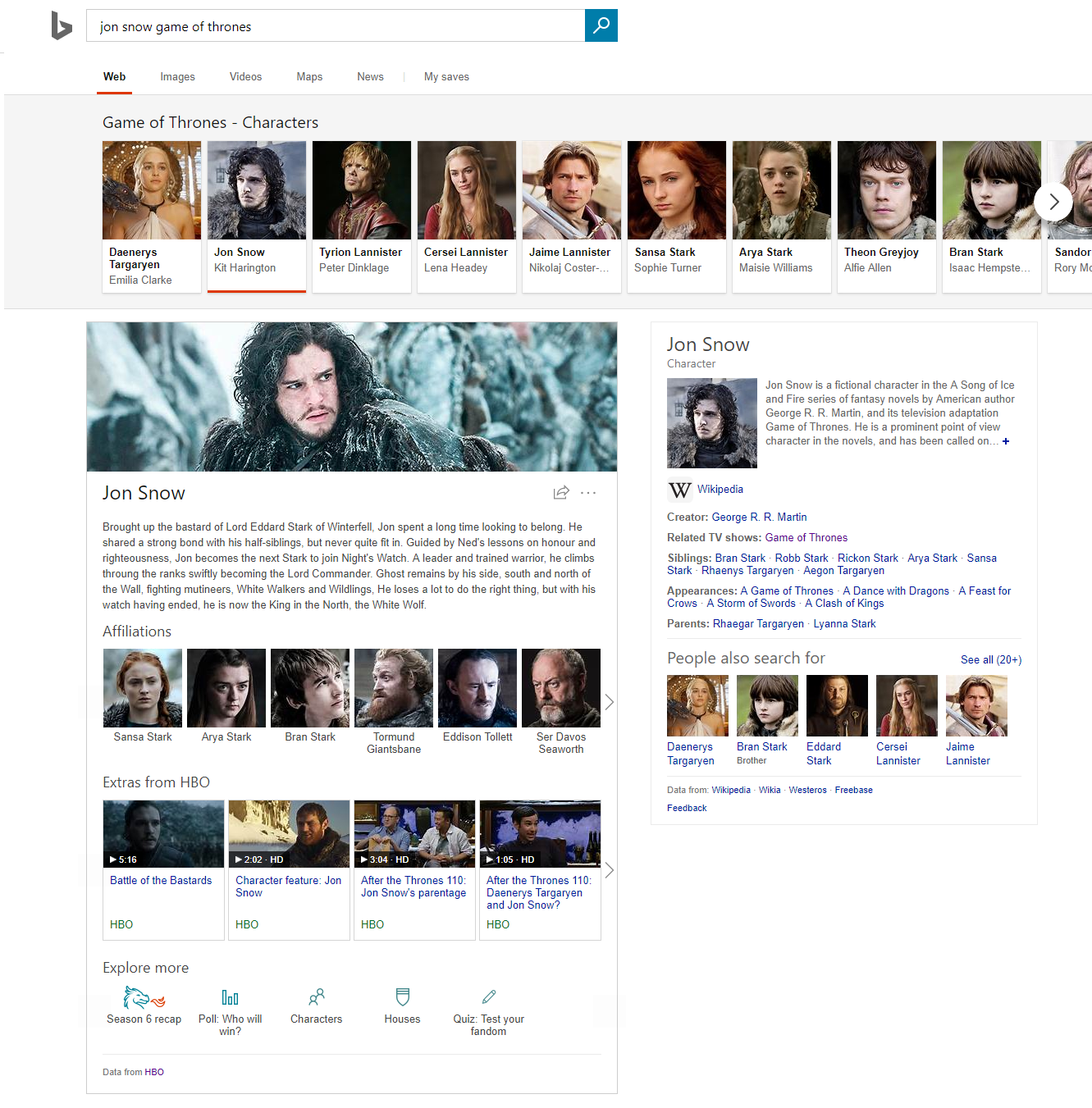 jon snow game of thrones query