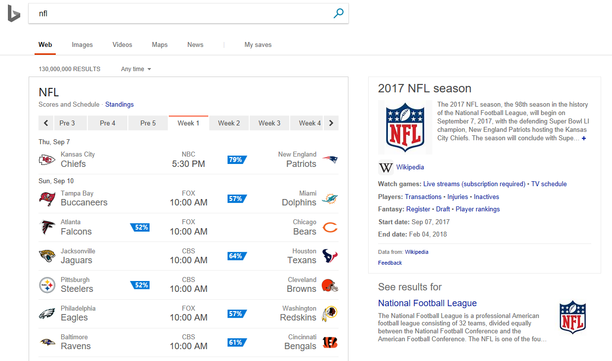 NFL web search