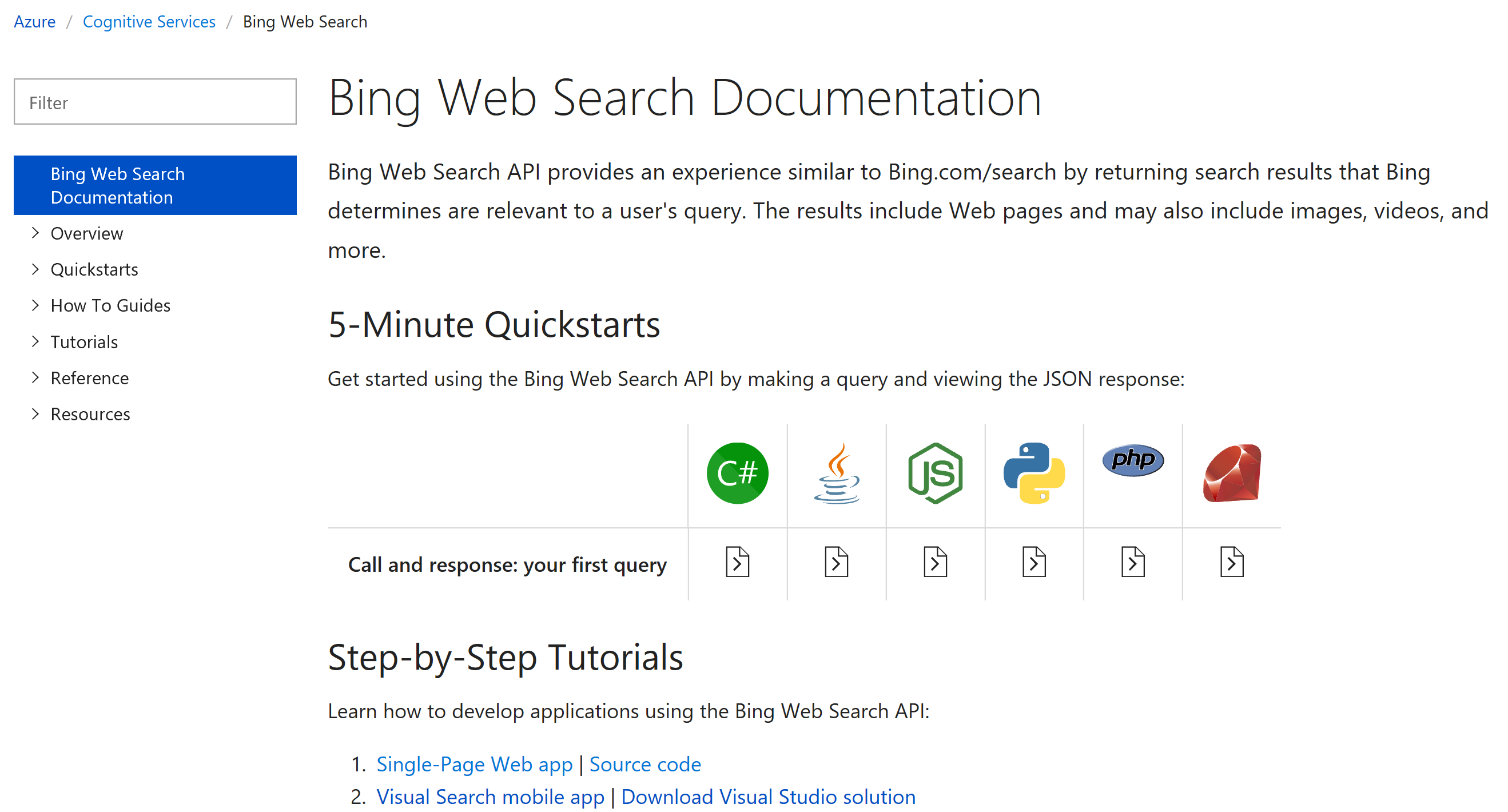 Bing Web Search Documentation