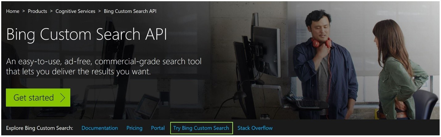 Try Bing Custom Search API
