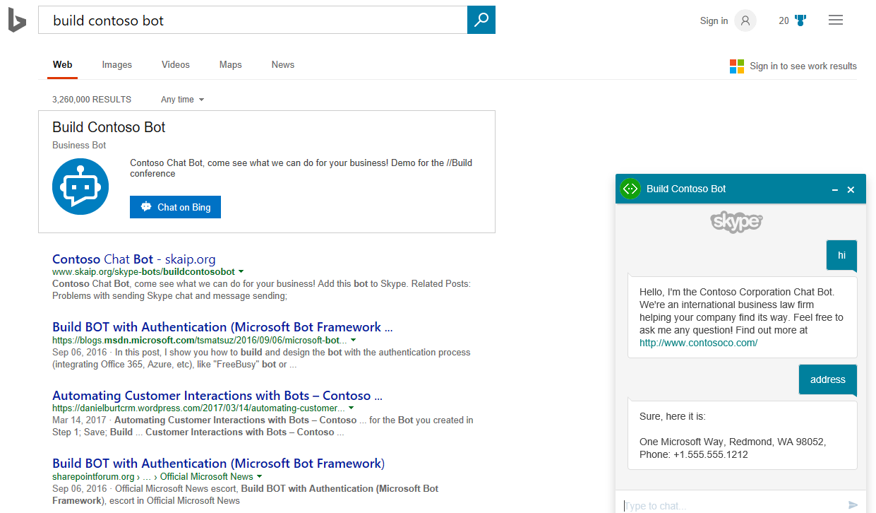 making search conversational: finding and chatting with bots on bing