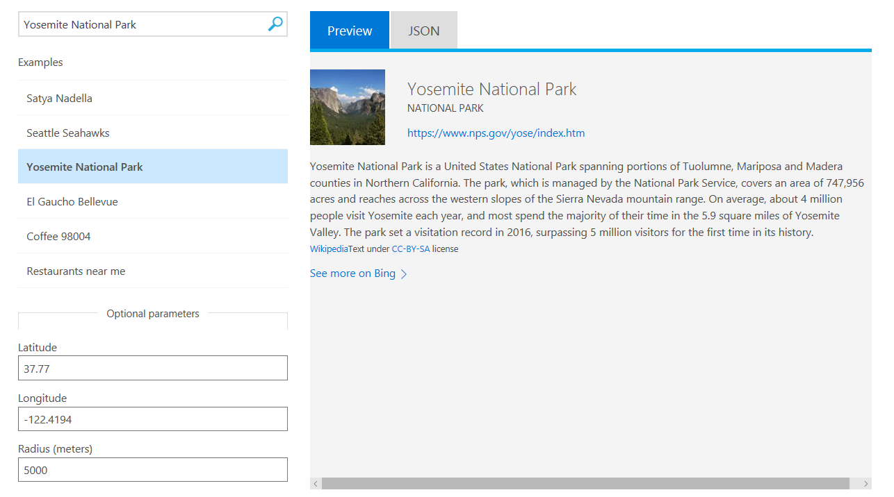 Bing Entity Search API Demo Screenshot