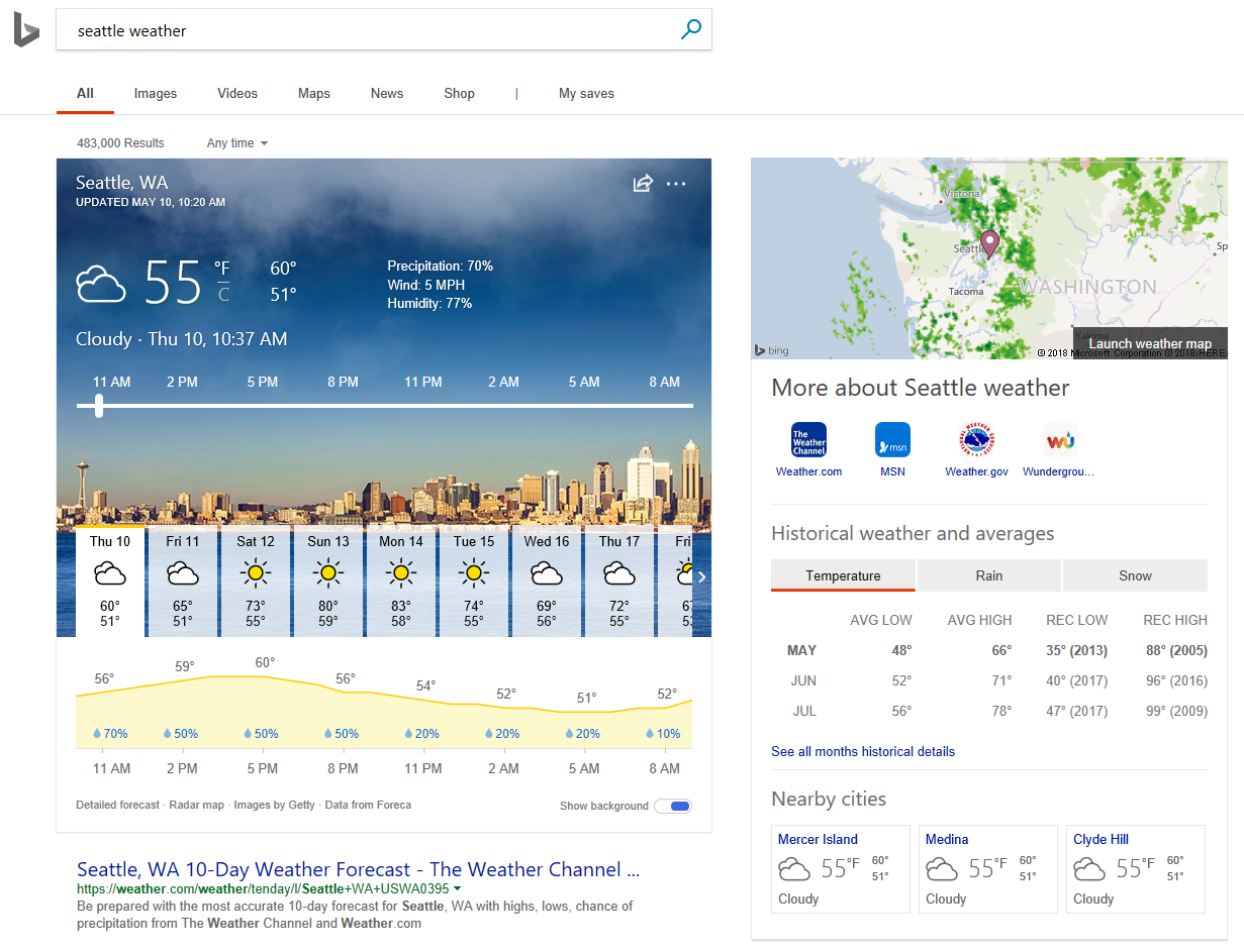 Bing updated with intelligent answers expansion and additional weather info among others - onmsft. Com - may 15, 2018