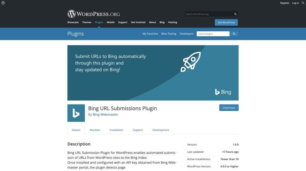 WordPress将网址提交到Bing