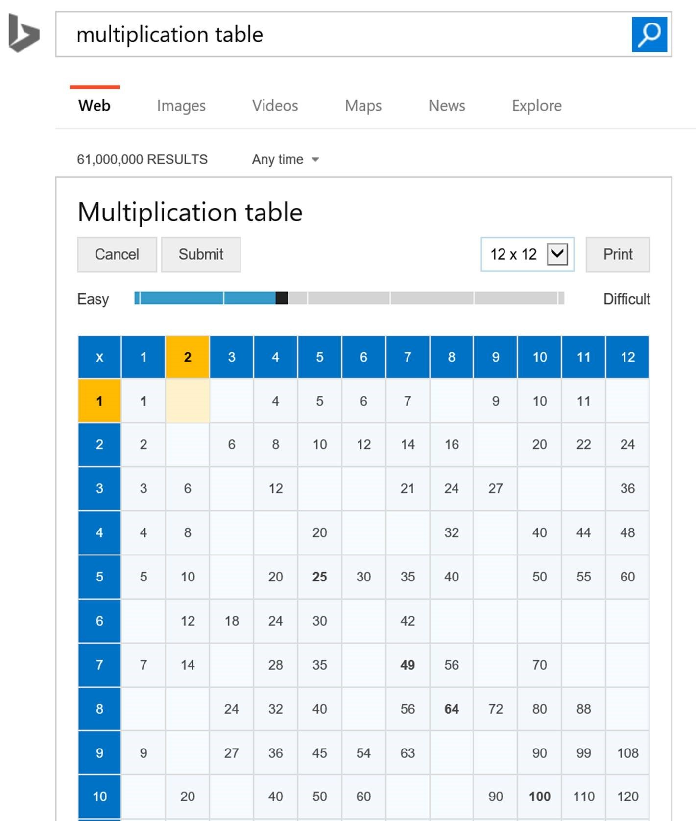 Celebrate pi day with interactive math answers from bing bing multiplication table gamestrikefo Gallery