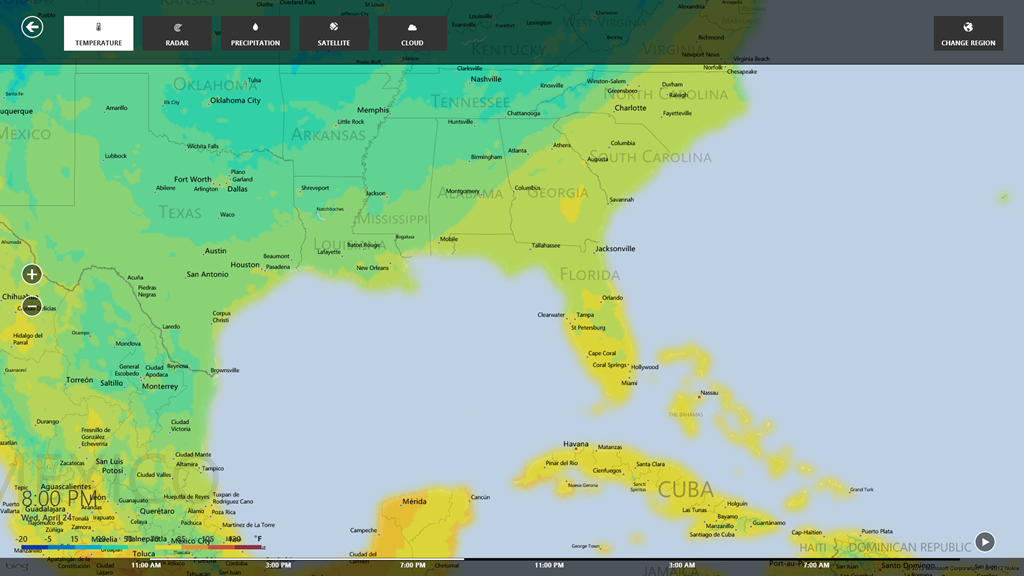 Meteorologists rejoice bing weather app now available bing search weather temperature map gumiabroncs Gallery