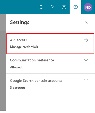 Manage credentials for oAUTH API access