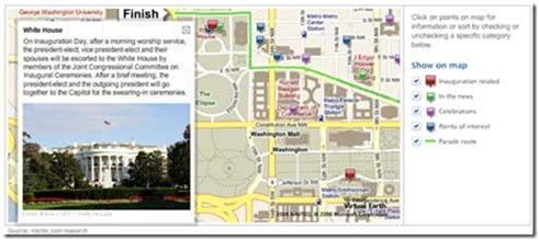 Image of inaugural parade route from MSNBC and Virtual Earth