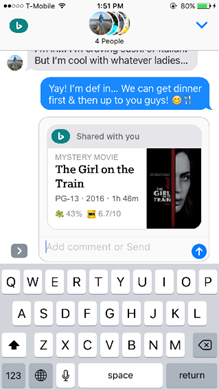 Bing iMessage - Make plans
