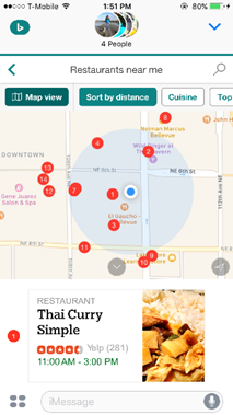 Bing iMessage - search and share restaurants