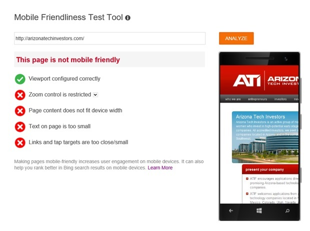 "Image of an example of page with verdict ""This page is not mobile friendly"""