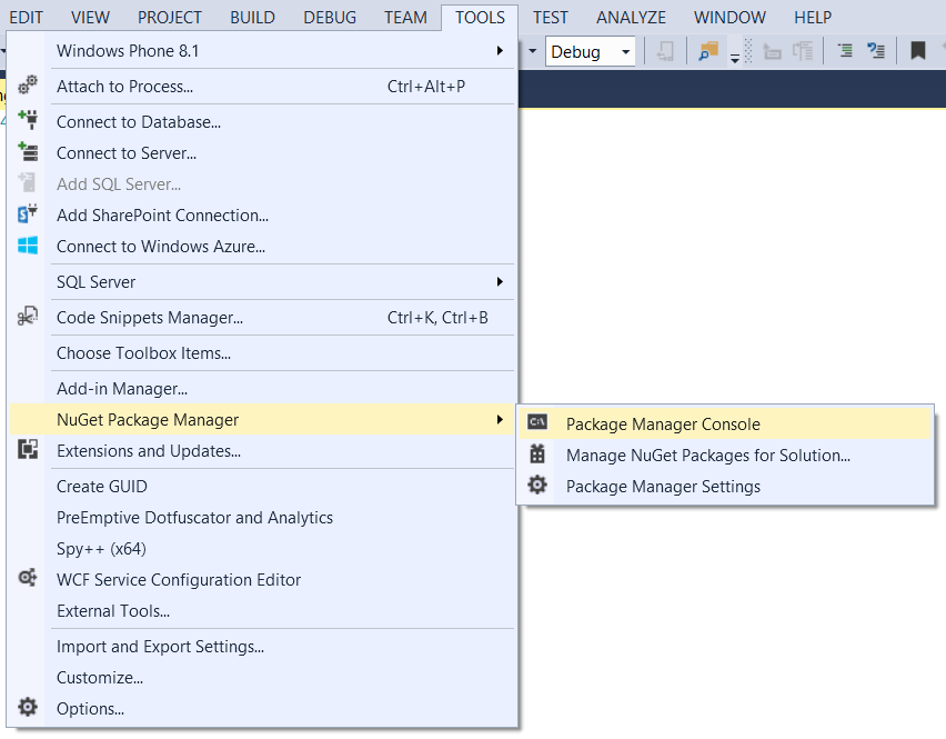 Screenshot: NuGet Package Manager