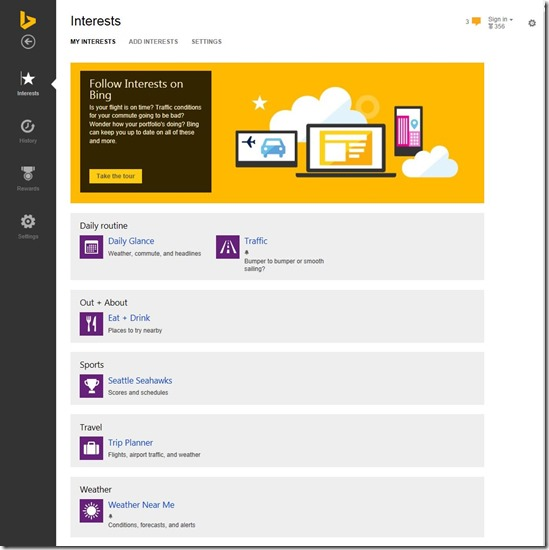 Bing Interest Manager