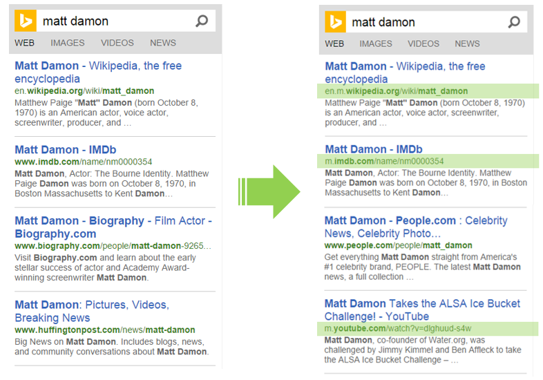 "Example of Bing mobile results for ""Matt Damon"", before (left) and after the update (right)."