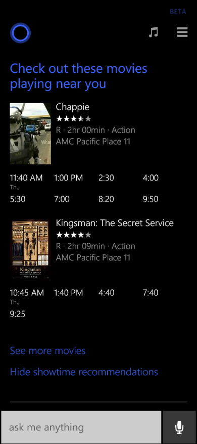 Cortana movie show times