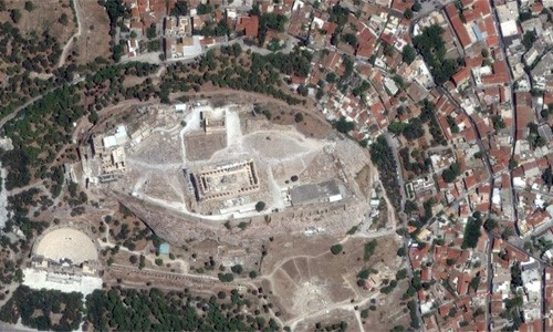 Satellite Imagery of the Parthenon in Greece