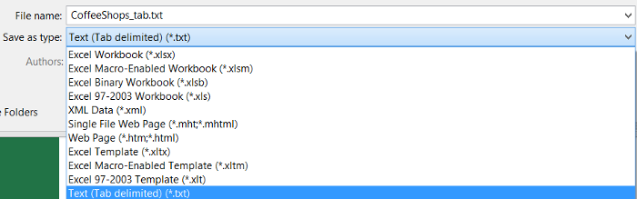 Screenshot: Selecting tab delimited file type