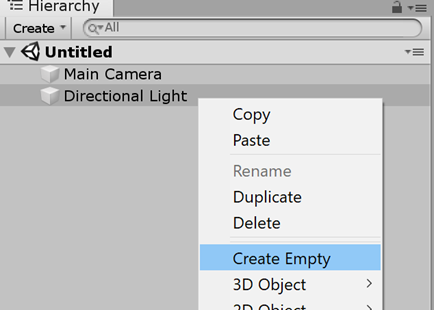 Maps SDK for Unity - Screenshot Create Empty Selected