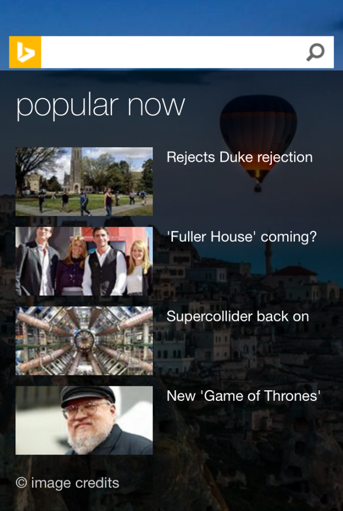 Screenshot: Popular Now