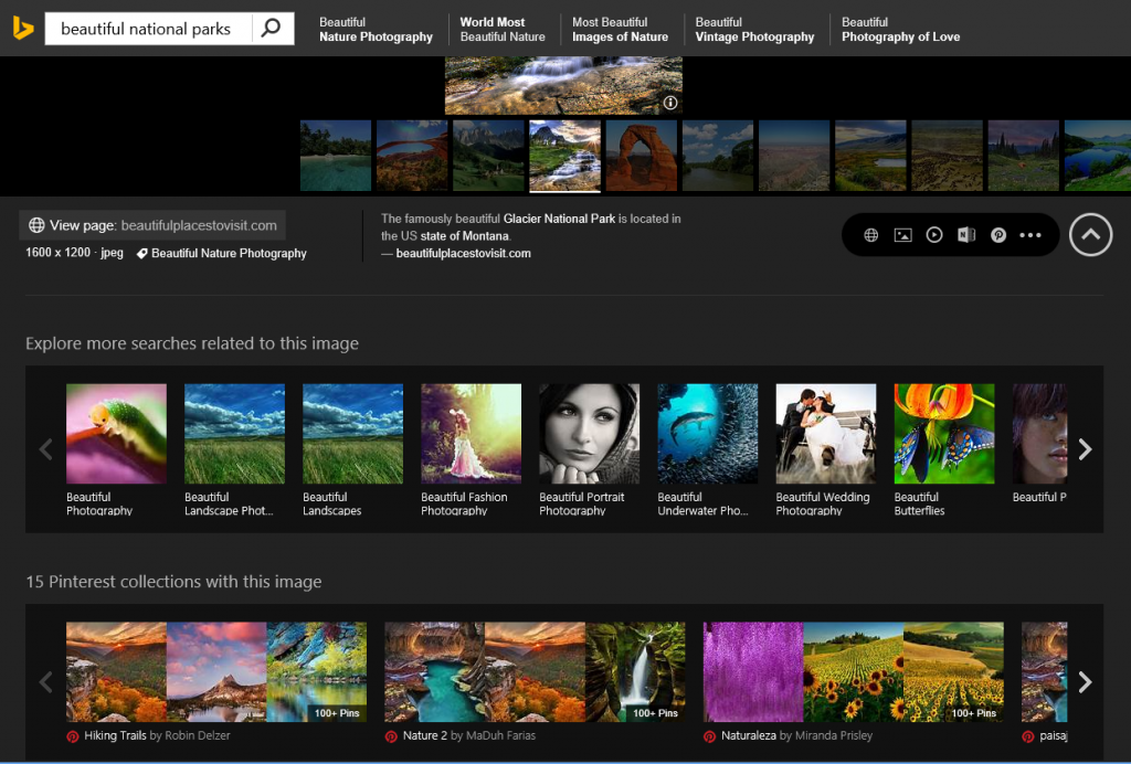 Researching beautiful national parks in Bing Image Search