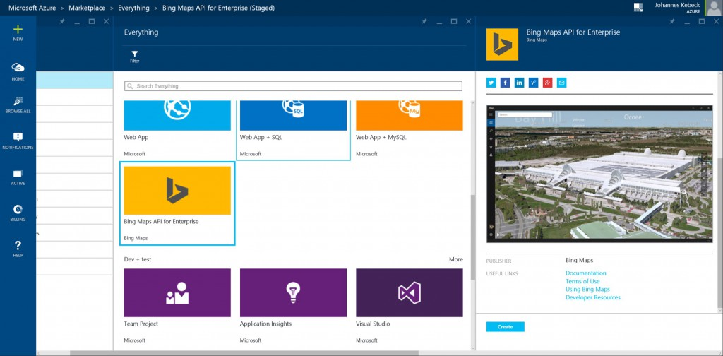 Bing Maps on Azure Marketplace