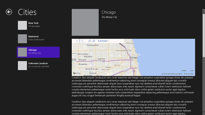 Example:  Cities group and Chicago item selection