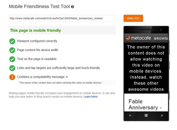 Example of a compatibility message on an otherwise mobile-friendly page