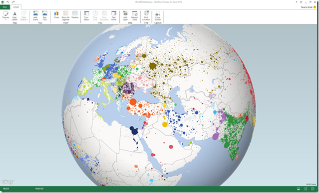 "Geoflow"" for Excel: 3D Big Data Visualization Built on Bing Maps on"